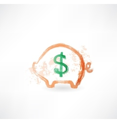 Pig moneybox grunge icon vector image vector image