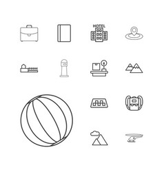 13 tourism icons vector