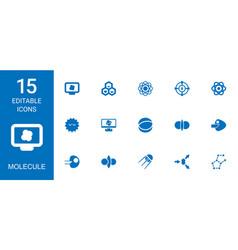 15 molecule icons vector image