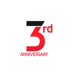 3 years anniversary logotype with black and red vector