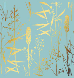 a pattern with wildflowers with imitation gold vector image