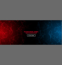 Abstract technology background with red and blue vector
