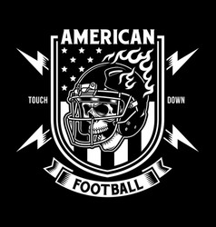 american football skull with helmet vector image