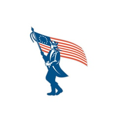 American Patriot Soldier Waving USA Flag Circle vector image