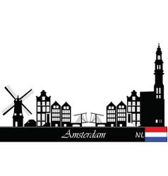 Amsterdam skyline with flag vector