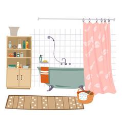 Bathroom interior design room with bathtub vector