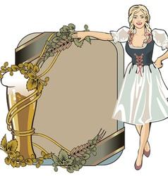 beer label festival girl blond vector image vector image
