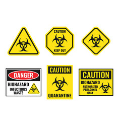 Biohazard warning sign set biological hazard vector