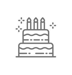 birthday cake holiday torte sweet line icon vector image