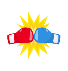 Boxing gloves fight icon red vs blue vector
