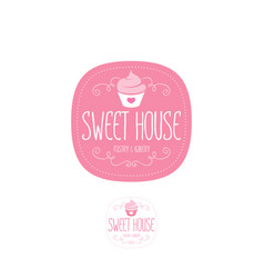 Cake house logo baking bakery emblem vector