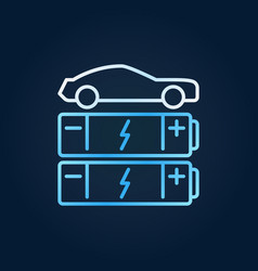 Car with blue batteries line icon ev vector