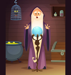 Cartoon background with accessories of wizard or vector