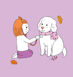 Cartoon cute autumn girl playing dog vector