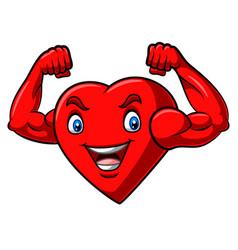 Cartoon strong heart with muscular arm vector
