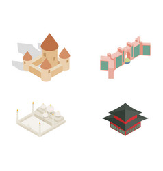 castle icon set isometric style vector image