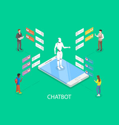 chatbot flat isometric concept vector image