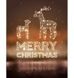 Christmas card with Magic Deer and lights vector image