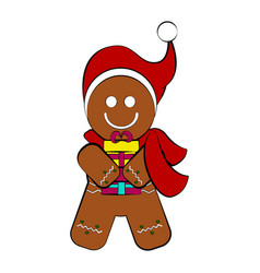 christmas gingerbread cookie character vector image