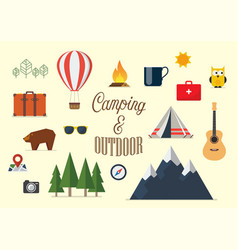 collection camping elements in flat design vector image