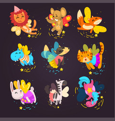 collection cute winged animals with a magic vector image