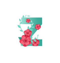 Color letter z with beautiful flowers vector