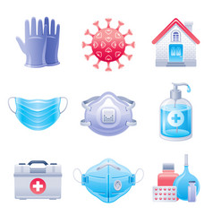 Corona virus protection icon set virus covid vector