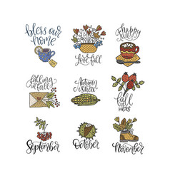 cozy fall lettering set vector image