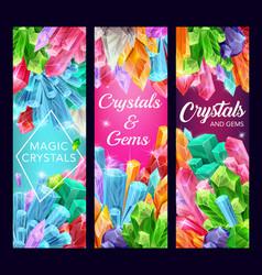 Crystals gemstones amethyst diamond quartz vector