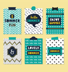 cute assorted summer quotes journal cards set vector image