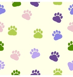 Dog paws pattern print trace color vector