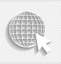 Earth globe with cursor white icon with vector