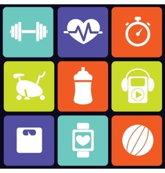 Fitness icons square vector image
