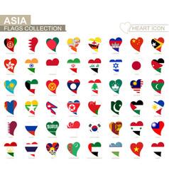 Flag collection asian countries heart icon set vector