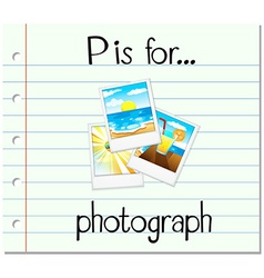 Flashcard letter P is for photograph vector