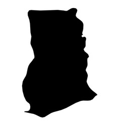 ghana - solid black silhouette map of country area vector image