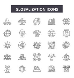 globalization line icons signs set vector image