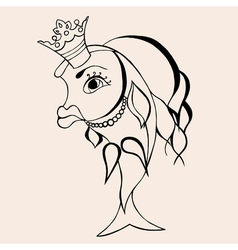 Goldfish fairy with crown vector image