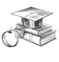 Graduate cap and books education vintage set hand vector