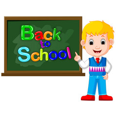Happy schoolchildren with green banner blackboard vector