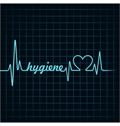 Heartbeat make hygiene word and heart symbol vector image