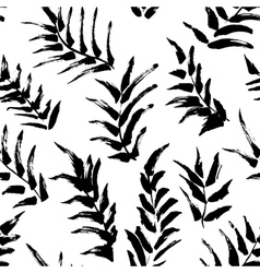 Ink seamless pattern with palm leaves vector