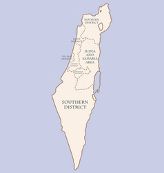 Israel contour map with districts vector