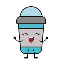Kawaii smoothie cup icon vector