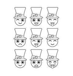 Leprechauns emoticons emojis characters for st vector