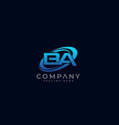 Letter ba circle swoosh logo design vector