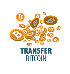 Logo bitcoin money transfer vector