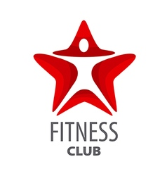 Logo red star for fitness club vector