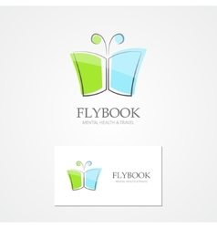 Logo with a combination of book and butterfly vector image