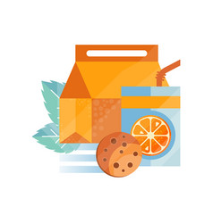 Lunch bag with cookie and orange juice healthy vector